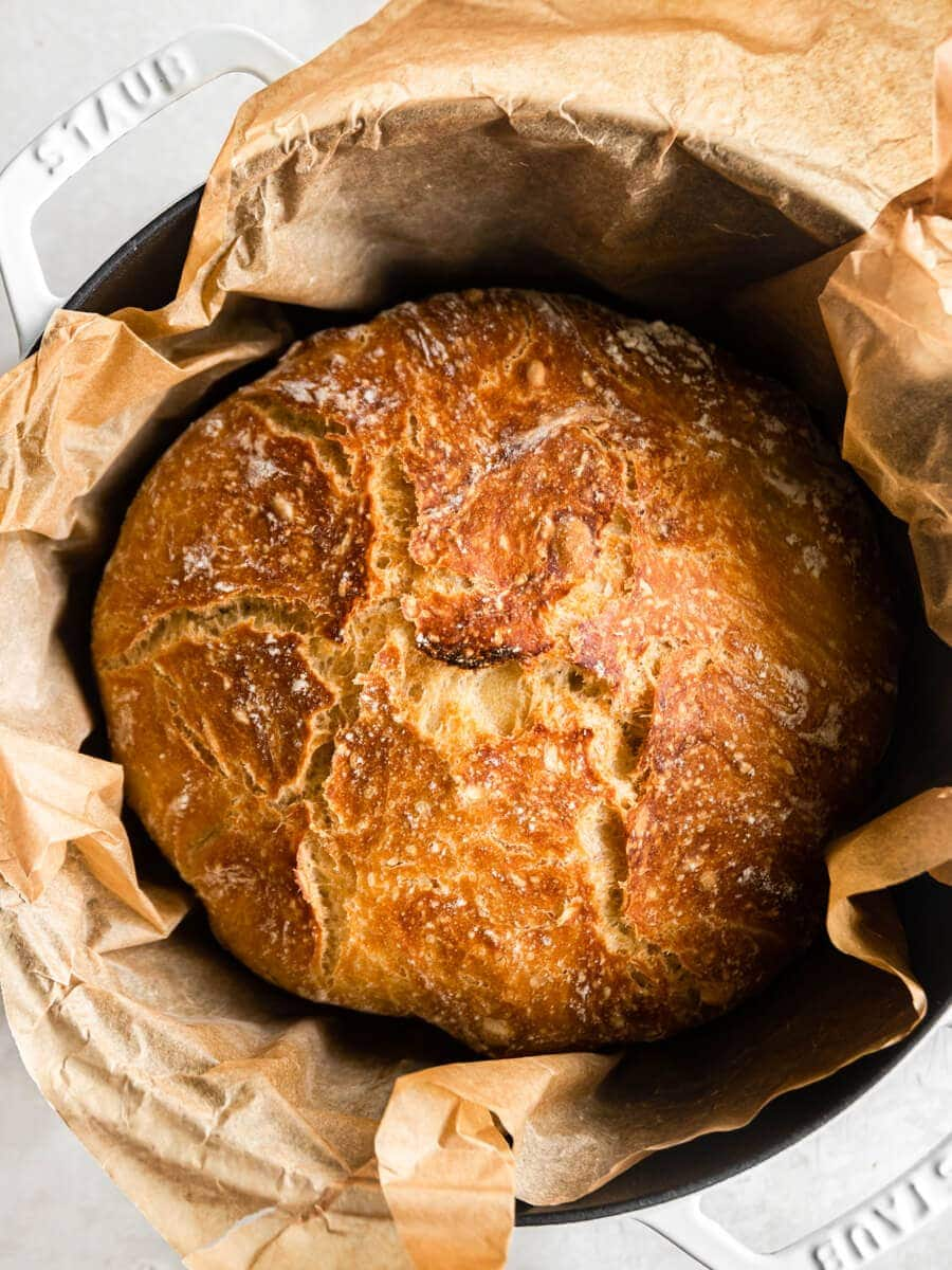 Baked bread in Dutch oven.