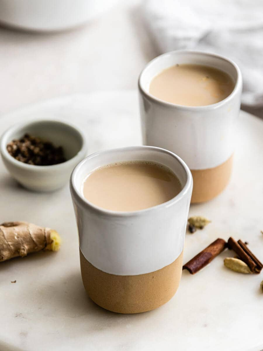 Two cups of masala chai.