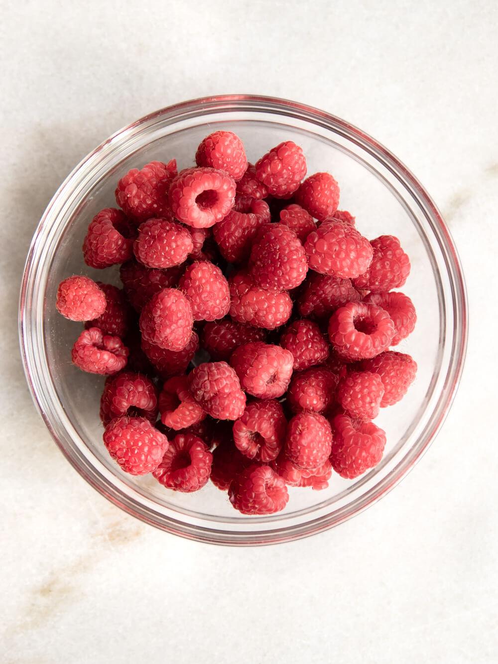 Bowl of fresh raspberries.